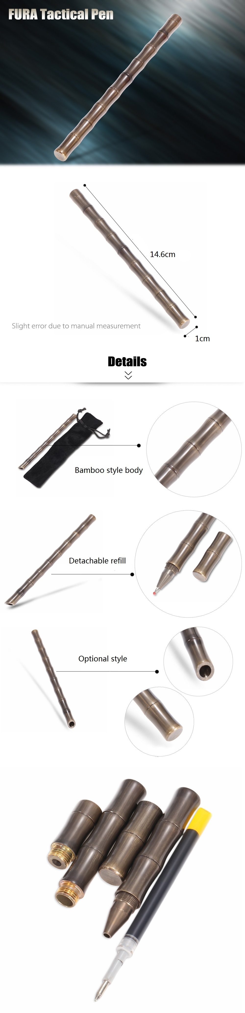 FURA Bamboo Style Body Brass Tactical Pen with Ring