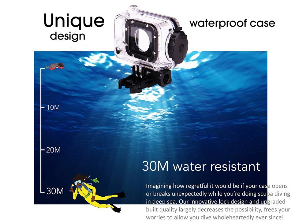 GitUp Git2 2K 1440P 1.5 inches LCD 170 Degree Wide Angle 30M Waterproof WiFi Action Camera with Novatek 96660 Chipset IMX206 16.0MP Image Sensor (Pro Packing)