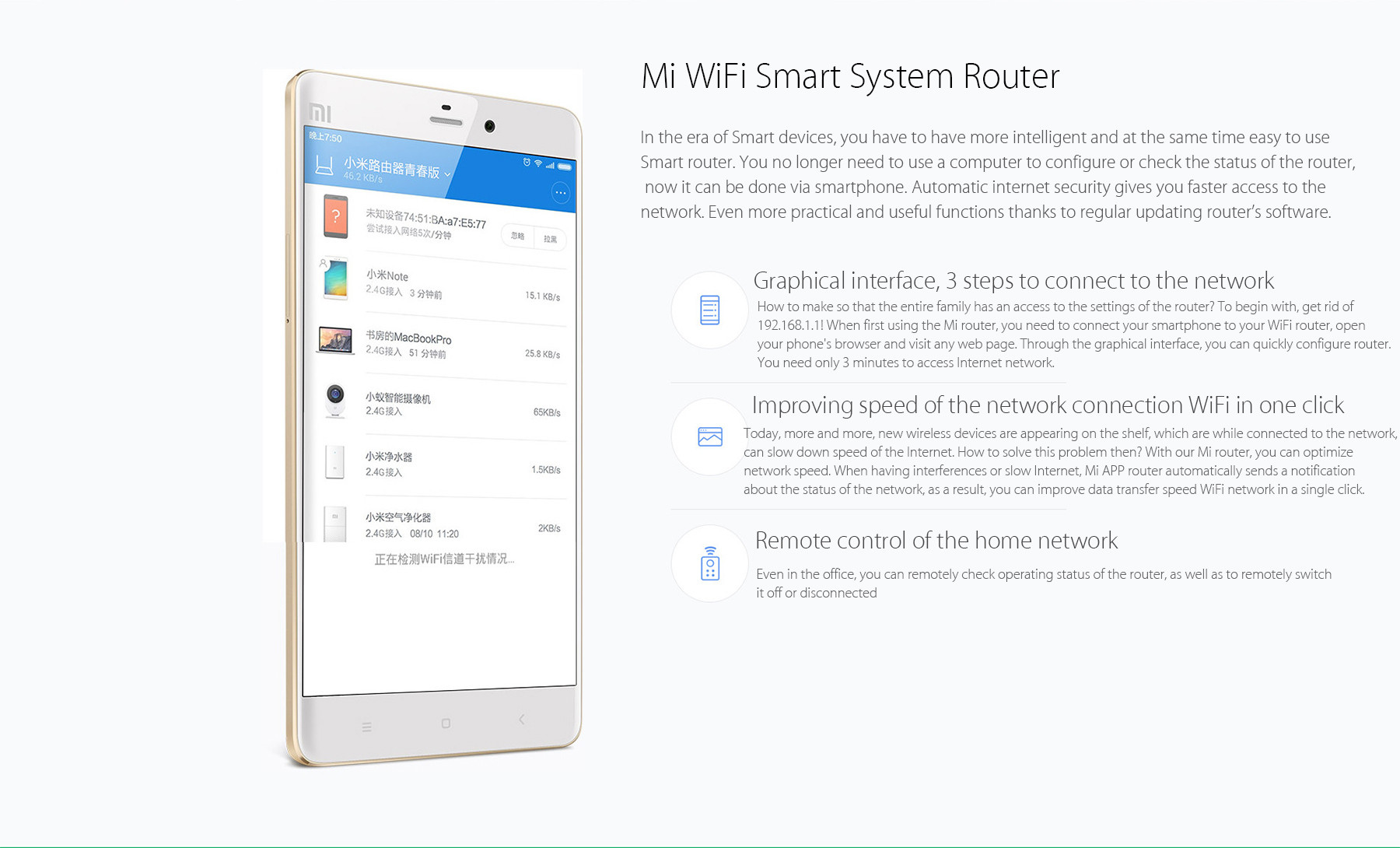XiaoMi Mi WiFi Router Youth Edition 2.4GHz Band 300Mbps Wireless Repeater for iPhone 6S / 6S Plus / 6 / 6 Plus / iPad Pro / Samsung S6 / Edge S6 / HTC ONE M9 / HUAWEI P8