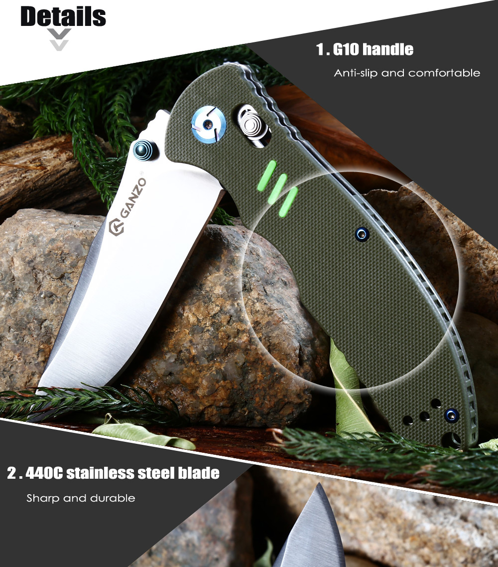 Ganzo G7501 - BK Folding Knife with Axis Lock / G10 Handle