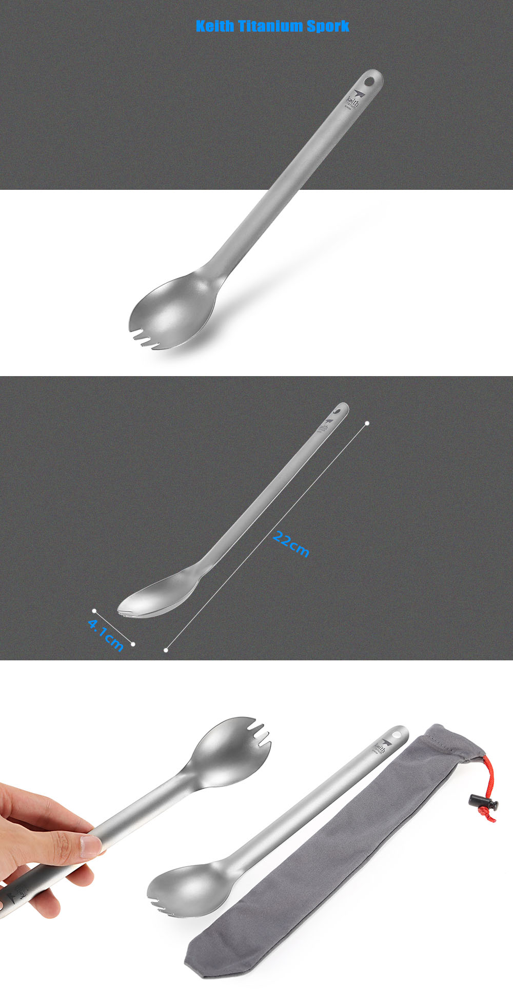 Keith Ti5319 Portable Titanium Spork Spoon with Long Handle