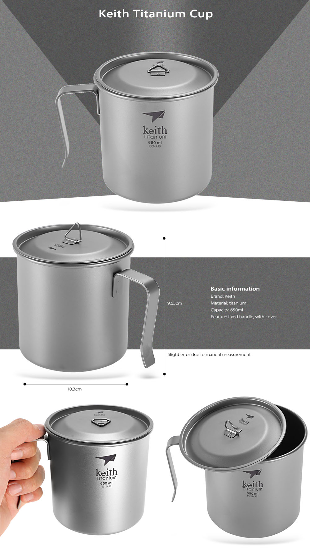 Keith Ti3268 Portable 650mL Titanium Cup with Fixed Handle / Cover