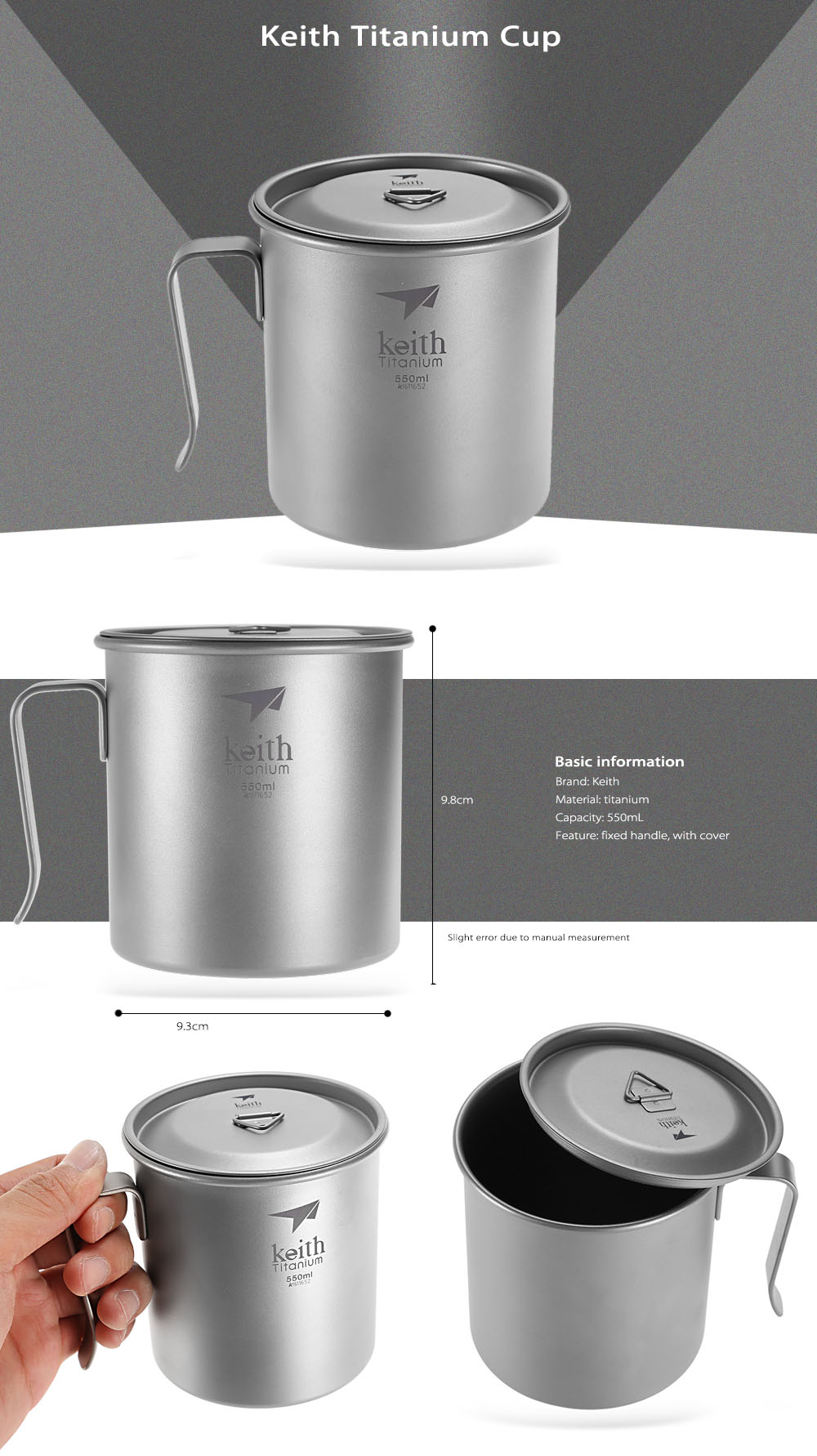 Keith Ti3266 Portable 550mL Titanium Cup with Fixed Handle / Cover