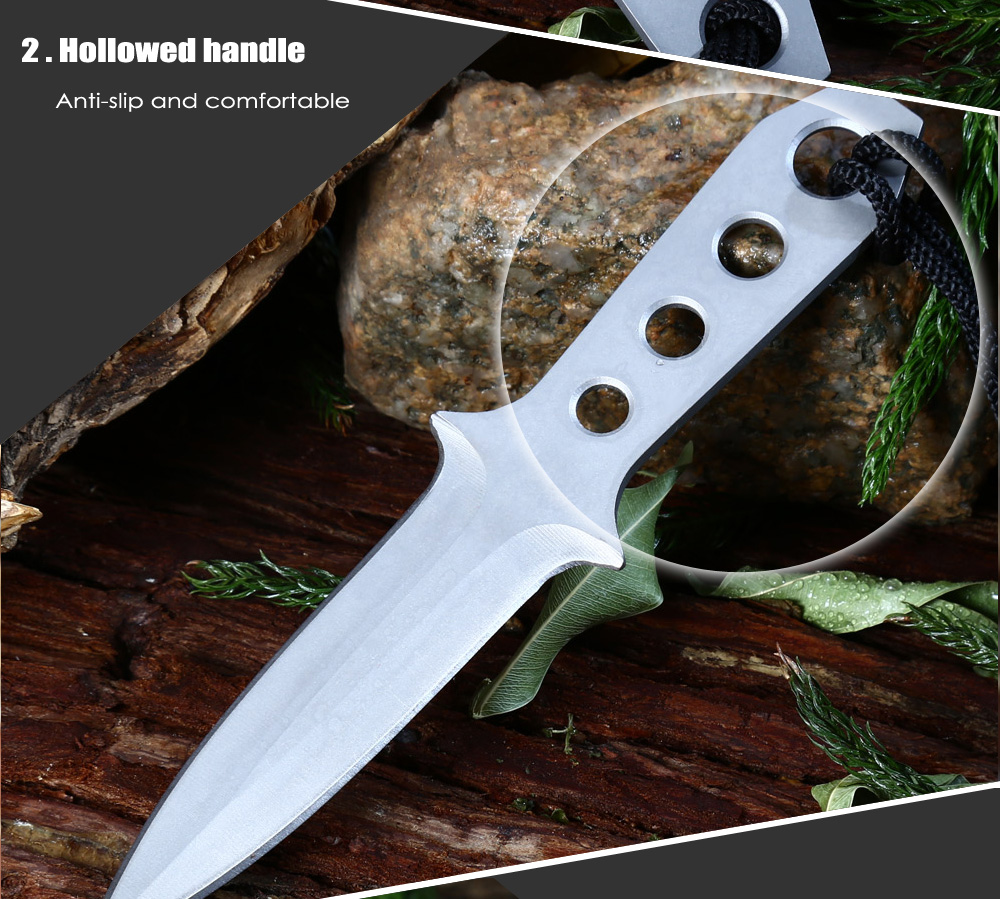 4pcs 440C Stainless Steel Double-edged Fixed Blade Knife with Storage Bag