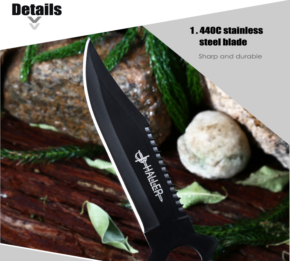 4pcs 440C Stainless Steel Fixed Blade Knife with Storage Bag for Camping / Daily Use