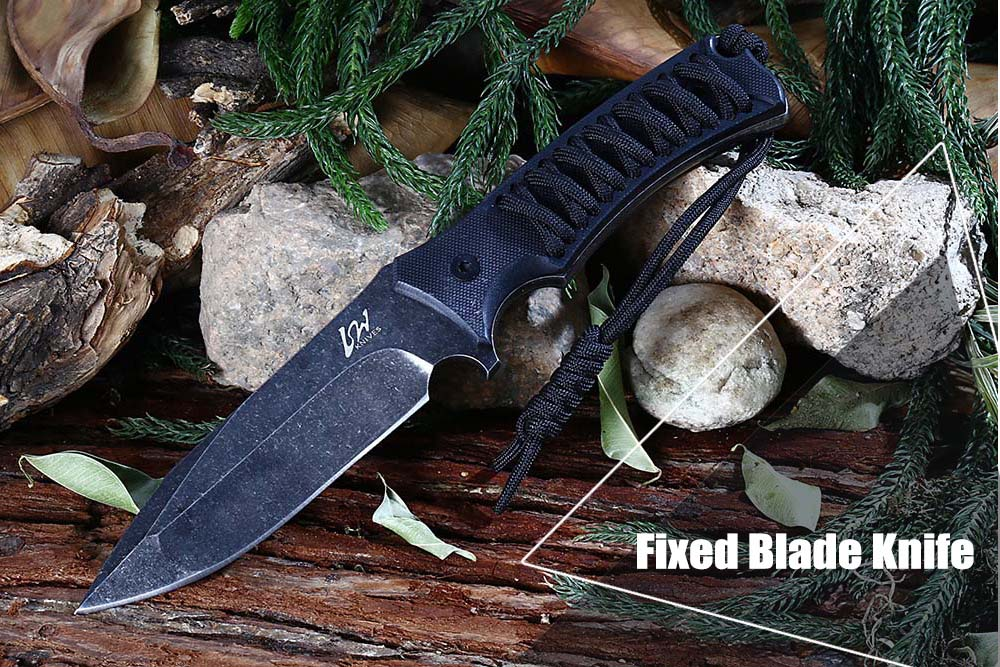 Outdoor D2 Stainless Steel Fixed Blade Knife  with Sheath / Rope for Hunting Fishing