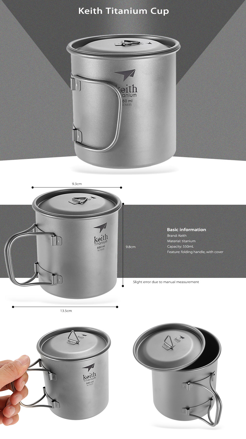 Keith Ti3206 Portable 550mL Titanium Cup with Folding Handle / Cover