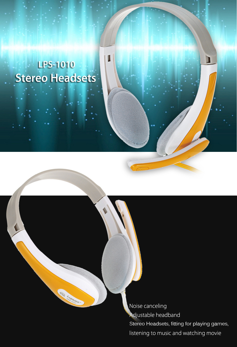 LPS - 1010 Stereo Headsets with Adjustable Headband / Noise Canceling