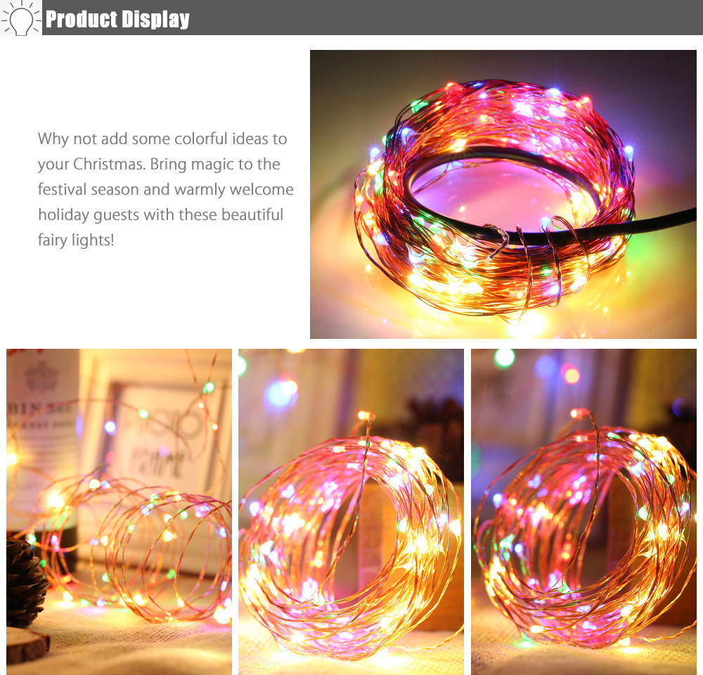 10M 100-LED RGBW Copper Wire LED String Light Christmas Decoration
