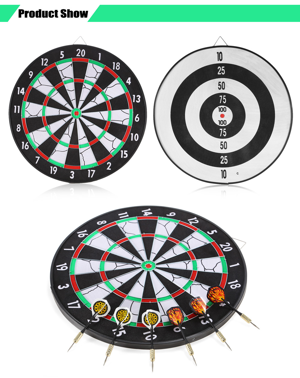 JOEREX JD6081 17 inch Flocked Dartboard Set Including 6pcs Darts 1 Dart Board