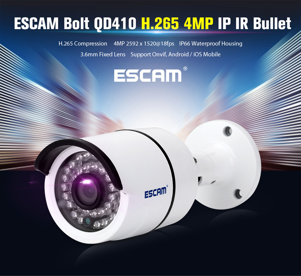 ESCAM QD410 H.265 4MP Network IP IR Camera Hisilicon Chipset Night Vision
