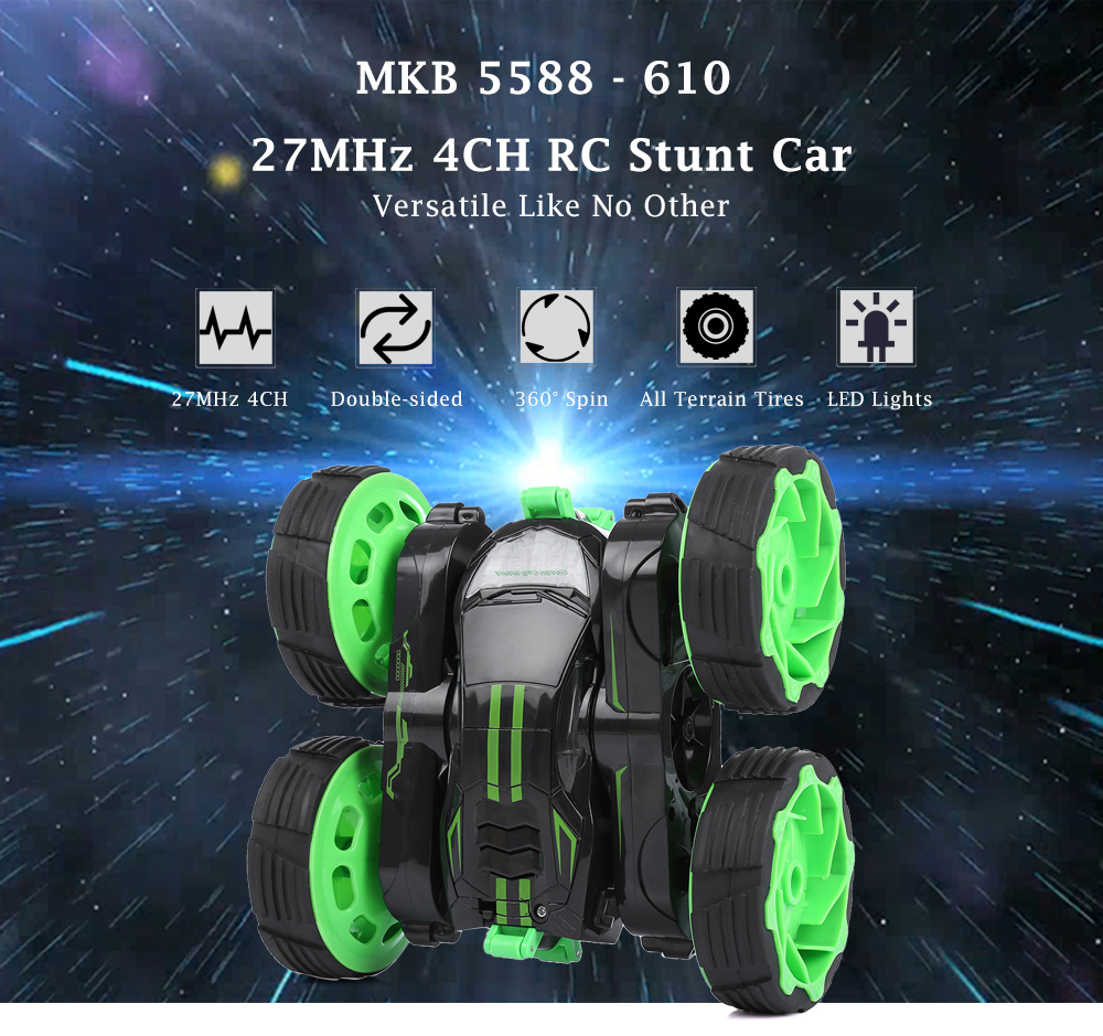 MKB 5588 - 610 27MHz 4CH Stunt Car 360 Degree Rotation Transformation Fall Resistance LED Light