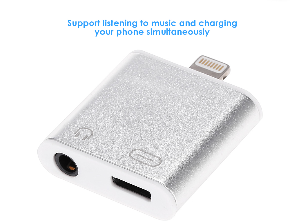 2-in-1 Audio Charging Adapter Earphone Headphone Connector for iPhone 7 / 7 Plus