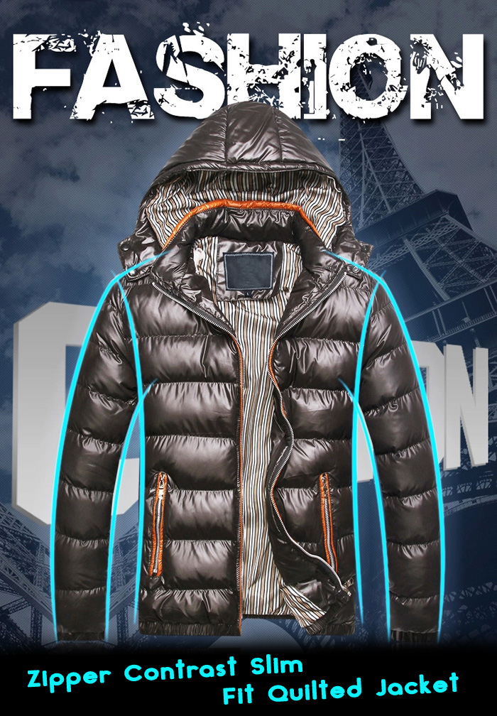 Zipper Contrast Slim Fit Quilted Jacket with Detachable Hood