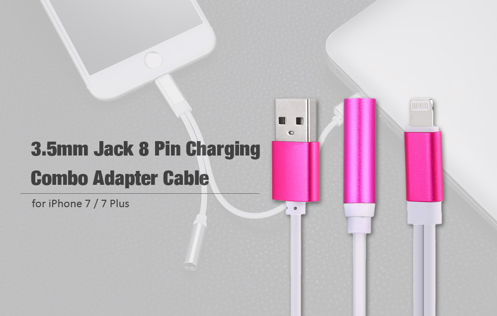 3.5mm Audio 8 Pin Charging Adapter Combo Cable for iPhone 7 / 7 Plus