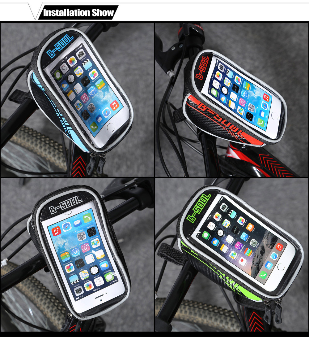 B - SOUL 07152 5.5 inch 1.5L Touch Screen Bicycle Font Tube Bag Handlebar Pouch Cycling Accessories