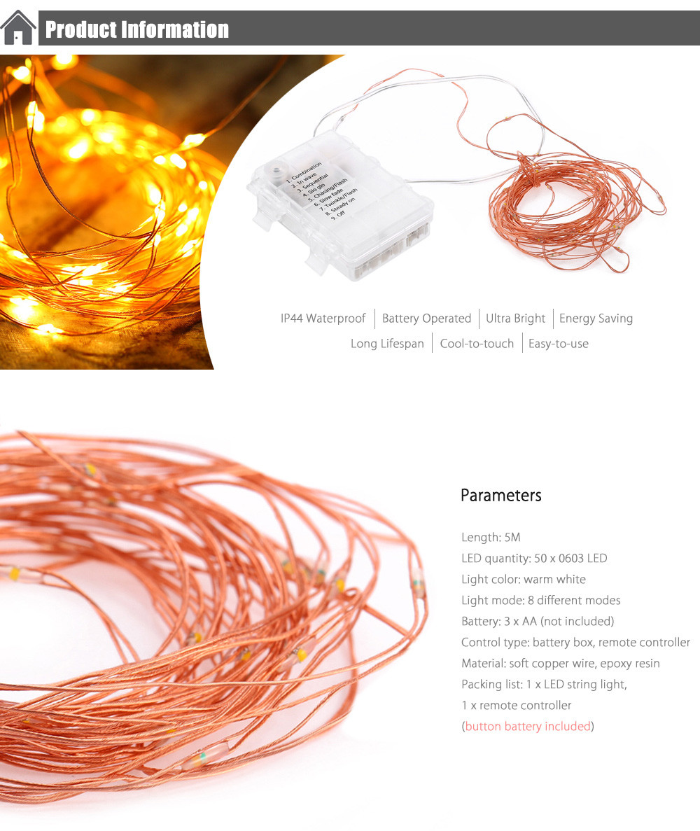 5M 50-LED Christmas String Light Copper Wire AA Battery Operated