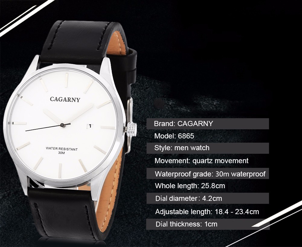 CAGARNY 6865 Casual Simple Nailed Scale Male Quartz Watch with Date Window