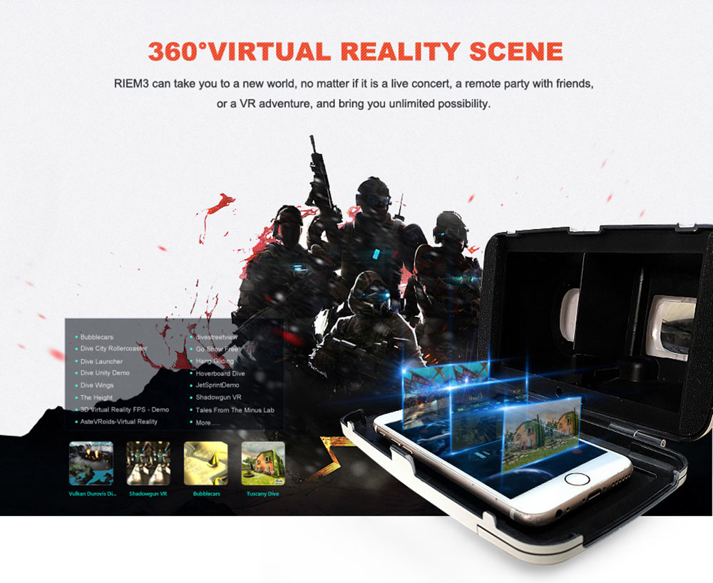 RITECH Riem 3 Virtual Reality 3D VR Glasses Head Mounted Headset Private Theater for 3.5 - 6 inches Smartphone