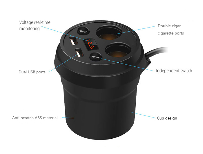 POFAN Independent Switch Cup Car Charger with Dual USB Interfaces Double Cigar Lighter Ports