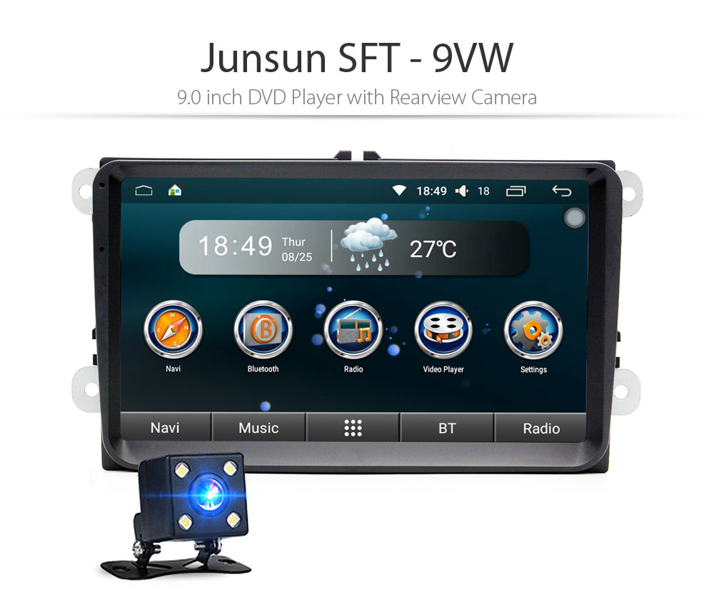 Junsun SFT - 9VW 9.0 inch DVD Player with Rearview Camera Support GPS WiFi Bluetooth