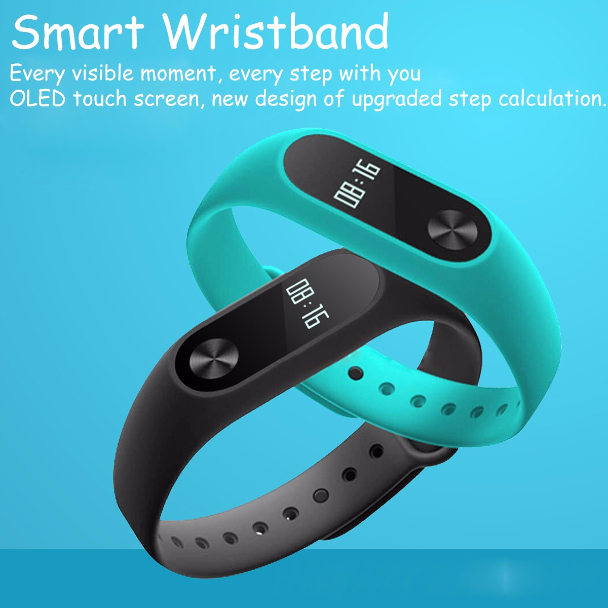 W2 BLE 4.0 Heart Rate Smart Bracelet with Drink Remind Alarm