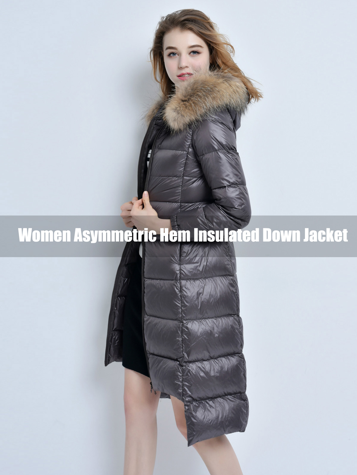 Women Asymmetric Hem Insulated Down Jacket