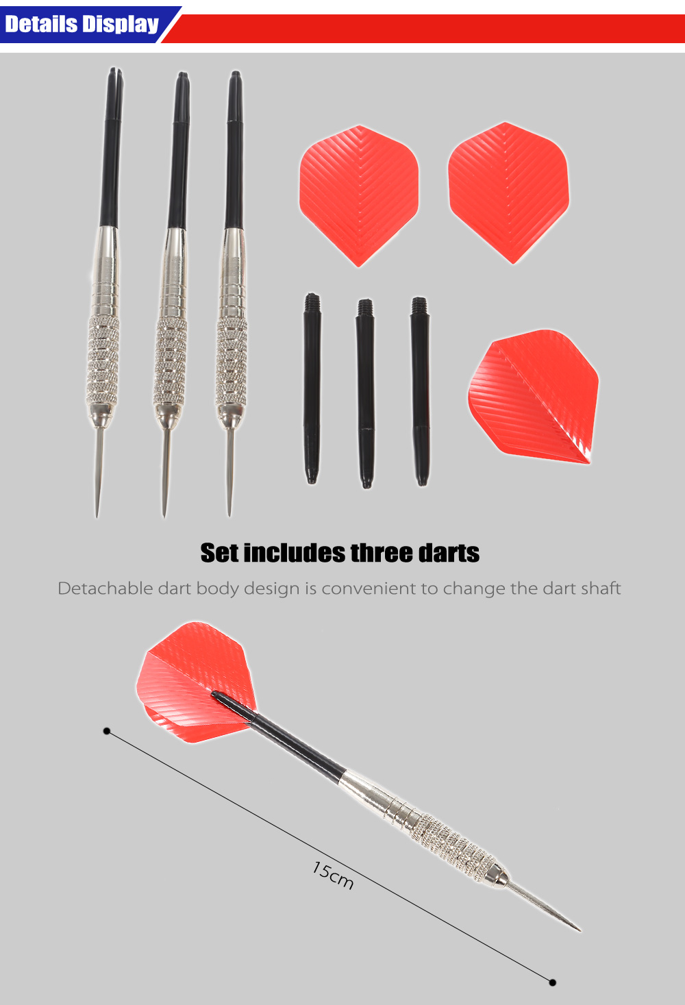 JOEREX JFT6623 3pcs Nickle Darts with Silver Plating in Blister Pack