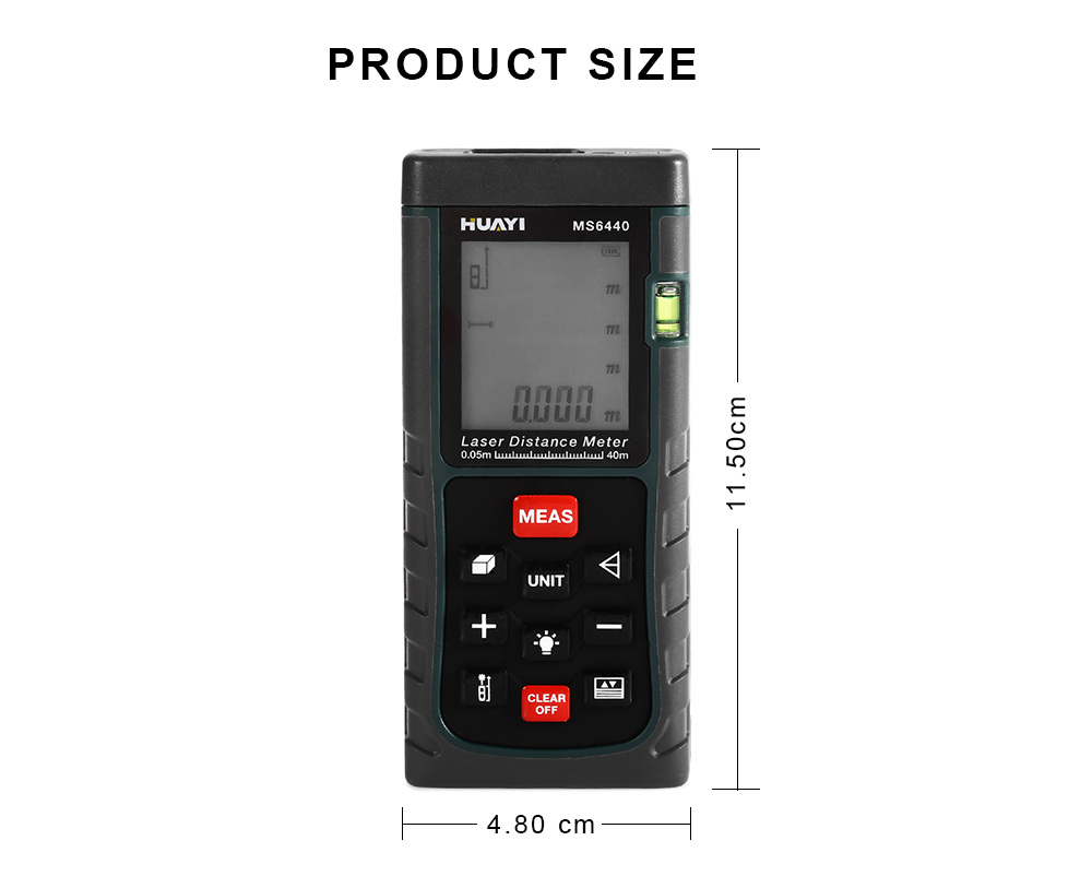 HUAYI MS6460 40m Digital Handheld Laser Distance Meter with LCD Display
