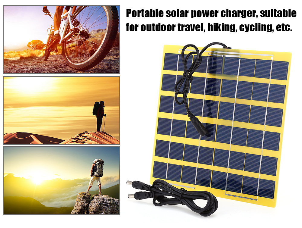 SUNWALK 5W 12V Polycrystalline Silicon Solar Charger Panel Outdoor Travel Portable Power Bank