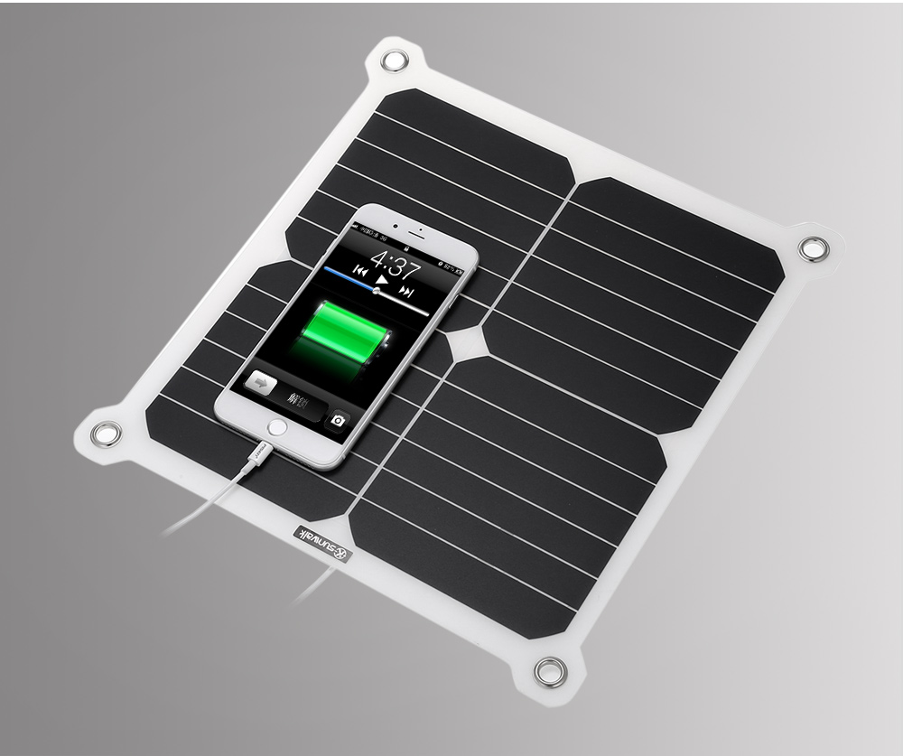 SUNWALK 13W High-effect Solar Charger Panel Outdoor Travel Portable Power Bank Dual USB Ports