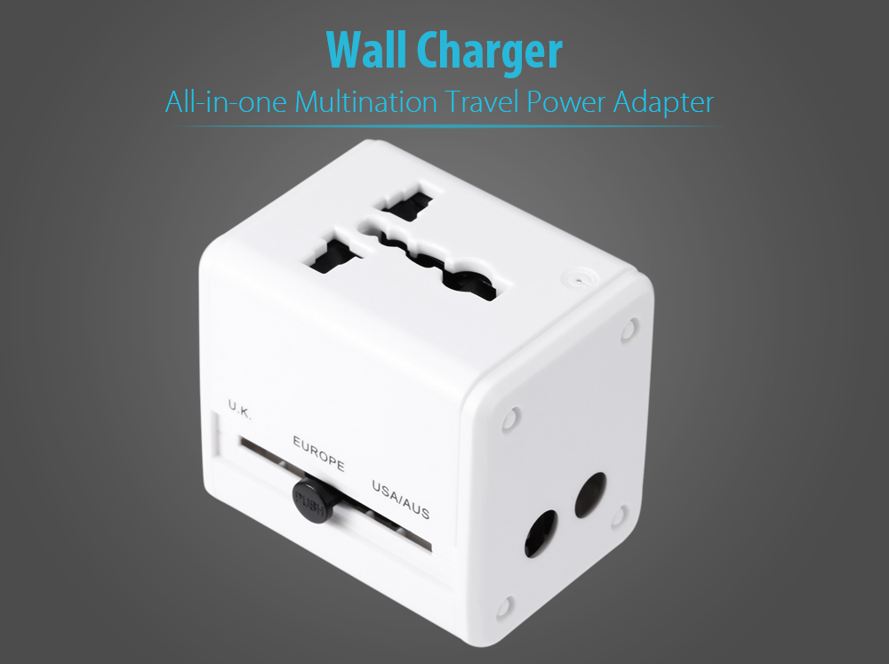 Multination Travel Power Adapter Wall Charger with Dual USB Ports