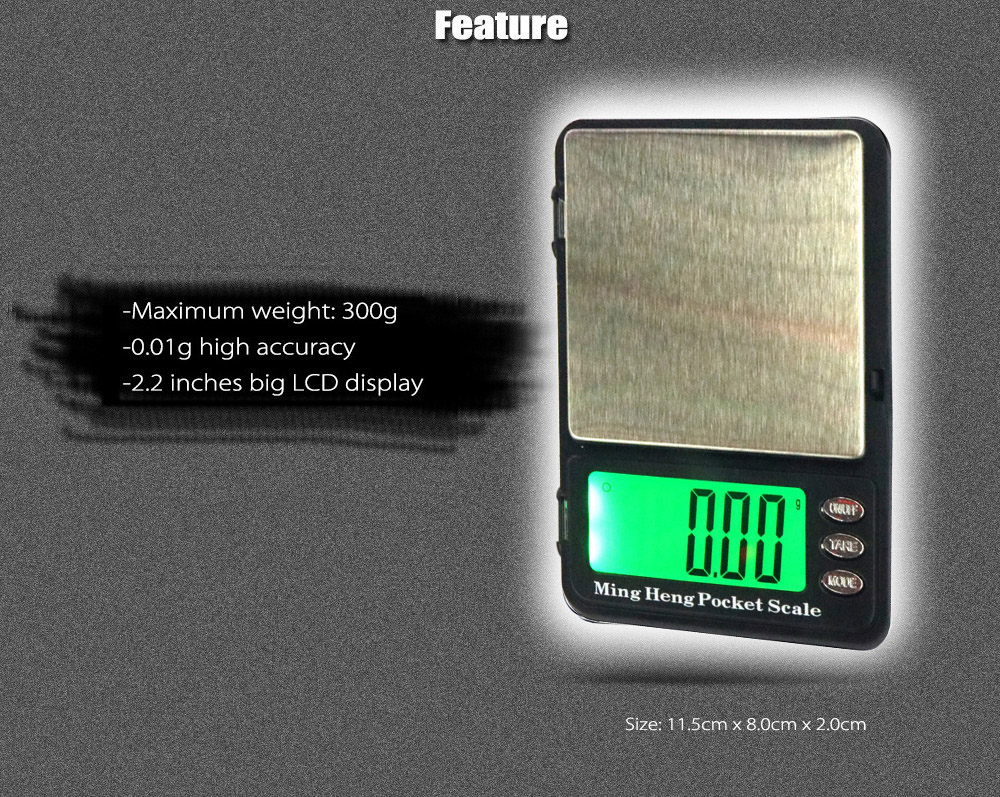 MH - 399 300g 2.2 inch LCD Digital Scale with 0.01g High Accuracy