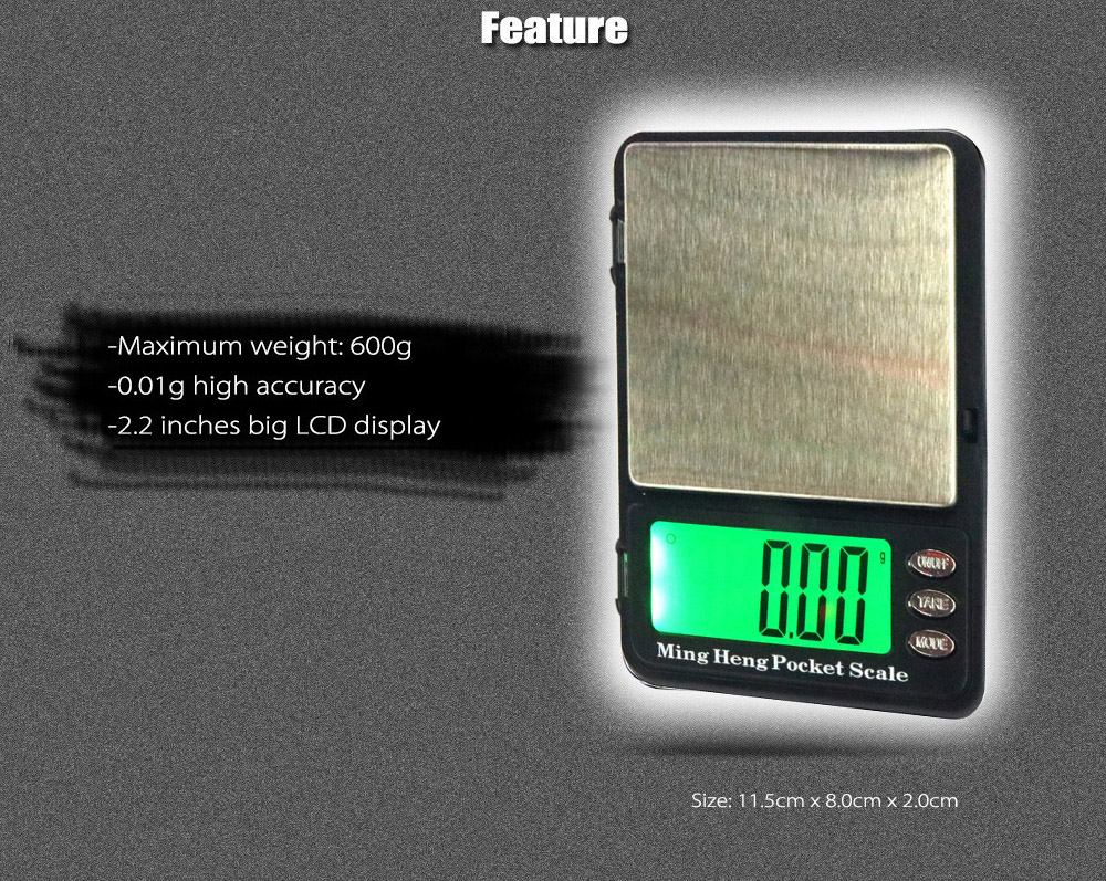 MH - 399 600g 2.2 inch LCD Digital Scale with 0.01g High Accuracy