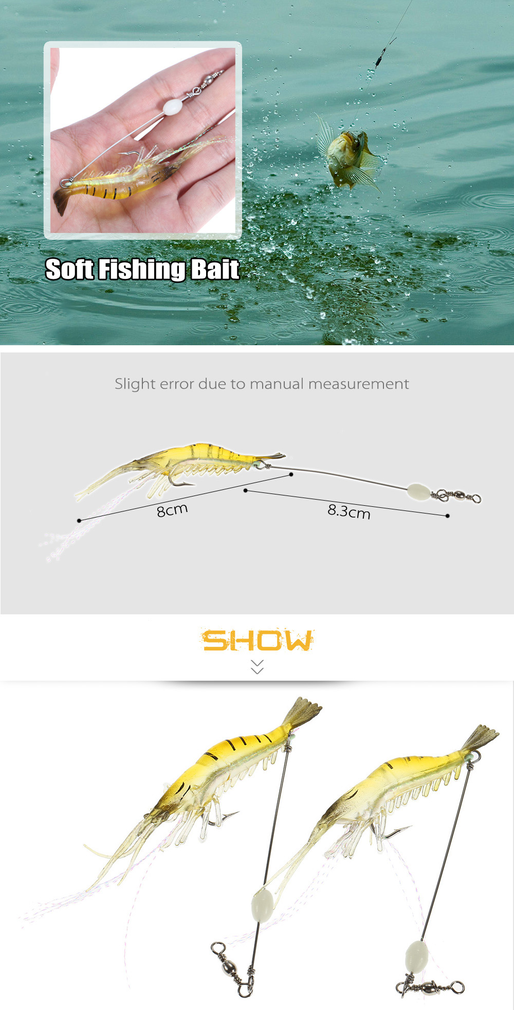 2pcs Artificial Shrimp-shaped Soft Fishing Bait Lure with Hook