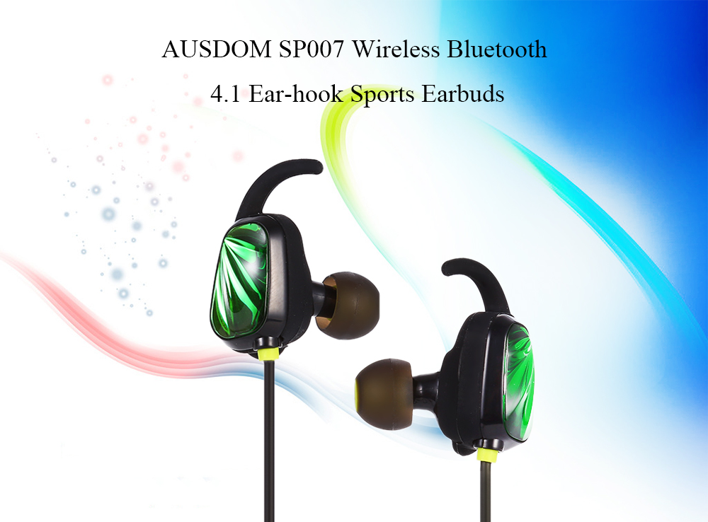 AUSDOM SP007 Wireless Bluetooth 4.1 Sports Earbuds Ear-hook with Microphone Support Hands-free Calls