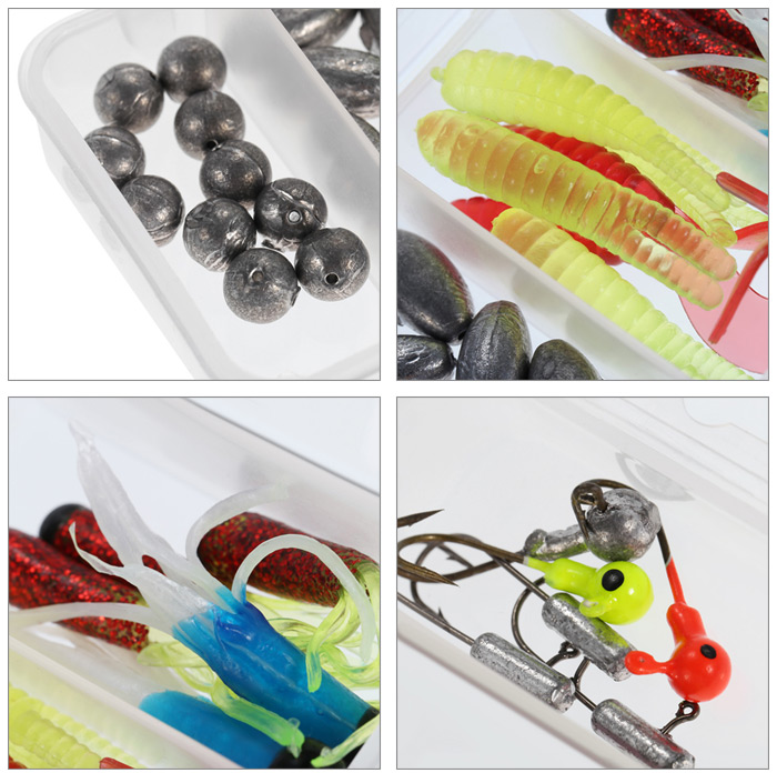 37pcs Multi-purpose Fishing Tackle Sinker / Hook / Soft Bait Lure / Storage Box