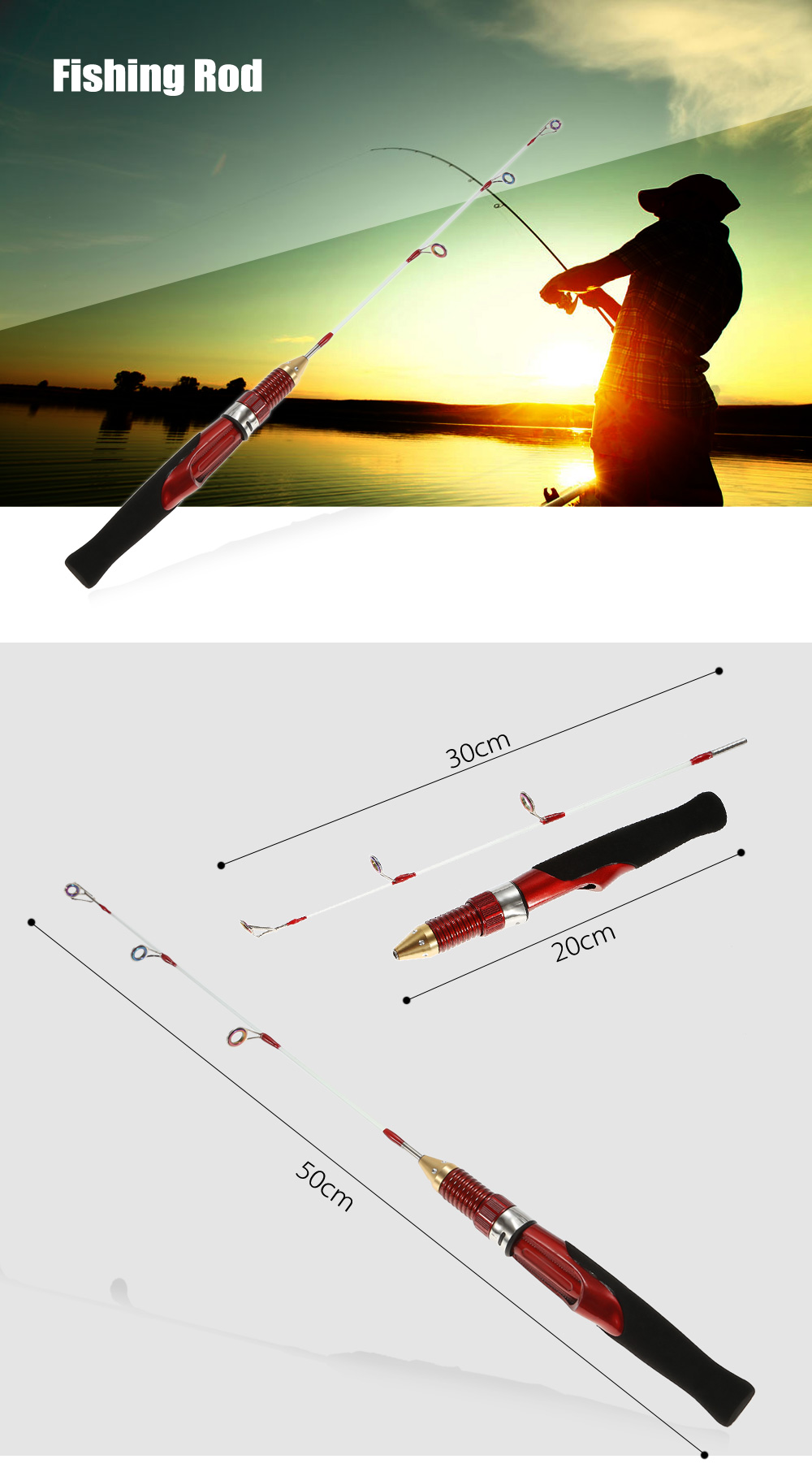 50cm Length Portable Detachable Fishing Rod Pole with EVA Handle