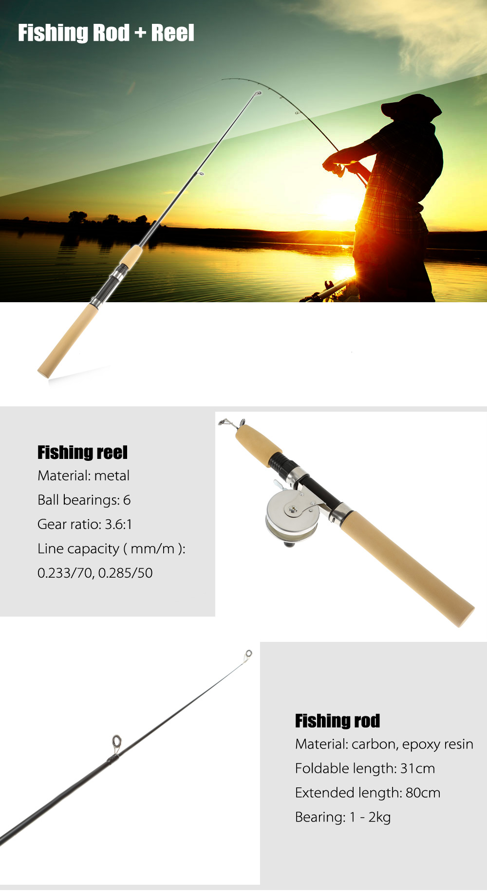 80cm Length Portable Telescopic Carbon / Epoxy Resin Fishing Rod Pole + Metal Reel
