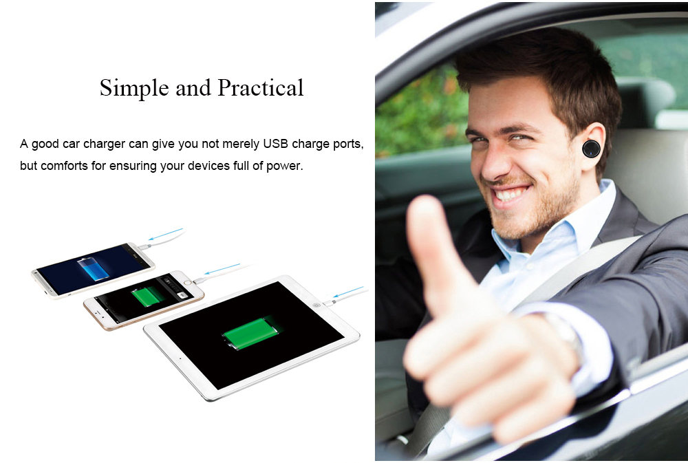 Quelima Multi-functional Five USB Ports Car Charger