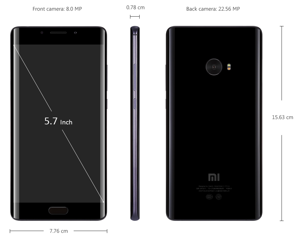 Xiaomi Mi Note 2 5.7 inch Arc Screen 4G Phablet MIUI 8 or Above Snapdragon 821 Quad Core 4GB RAM 64GB ROM 22.56MP Rear Camera Type-C Quick Charge 3.0
