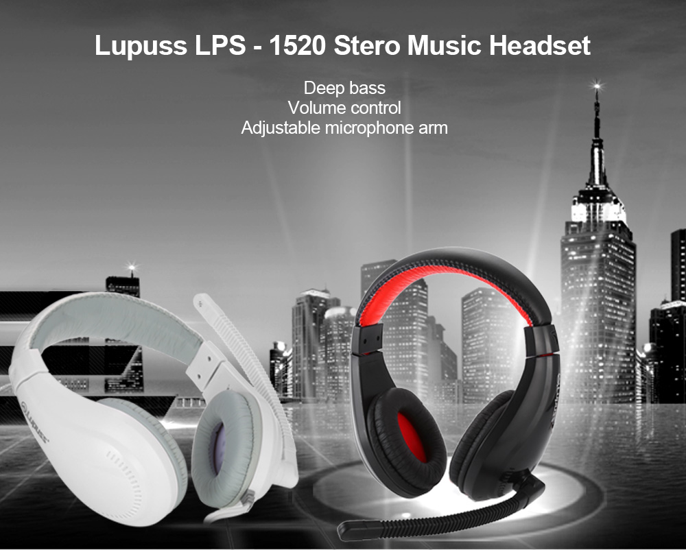 Lupuss LPS - 1520 Stero Music Headset Wired Headphone with Adjustable Microphone Arm Volume Control