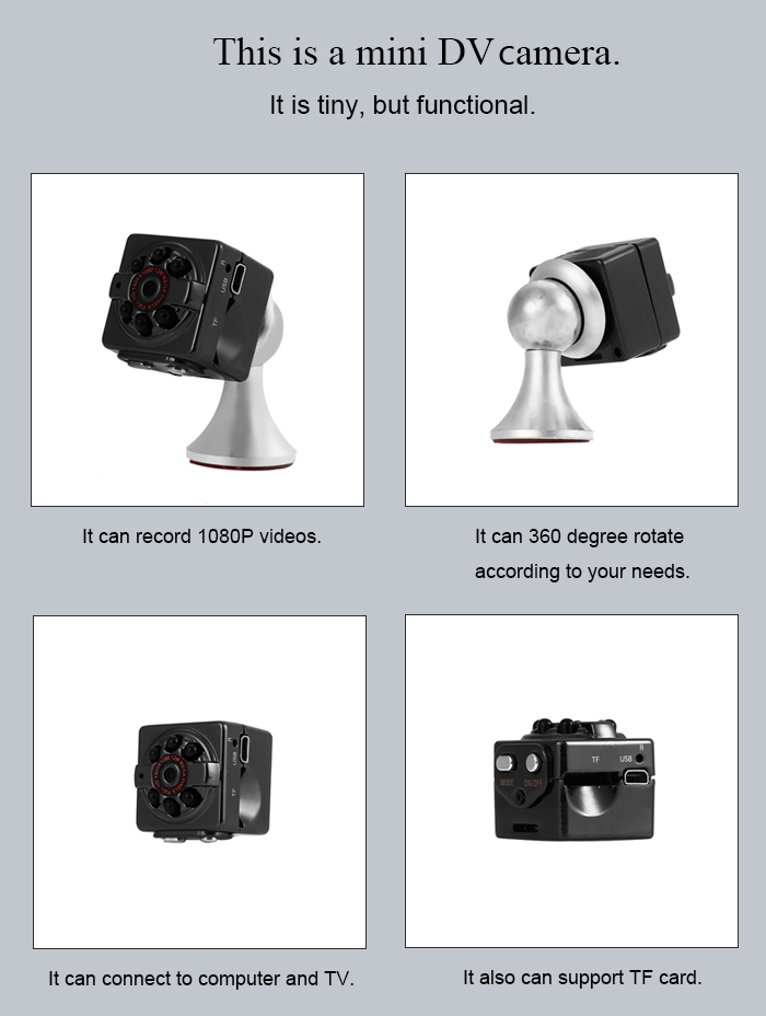 SQ9 1080P FHD Mini DV DC Camera with Magnetic Stand