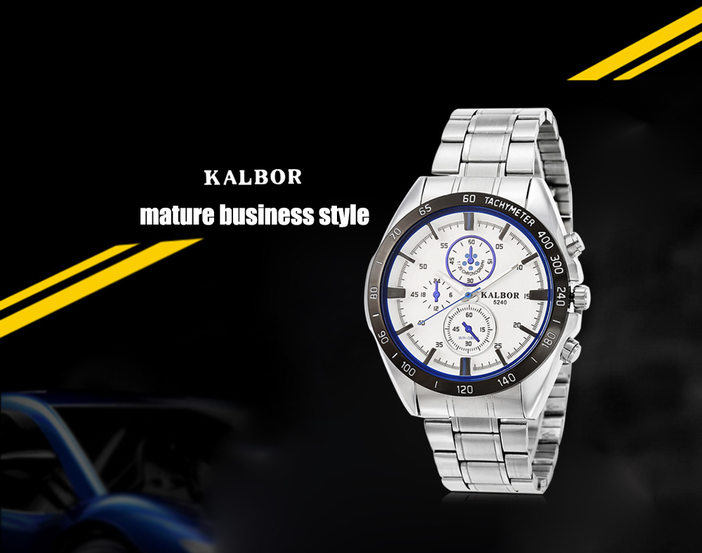 KALBOR 5240 Business Decorative Sub-dial Male Quartz Watch with Stereo Scale
