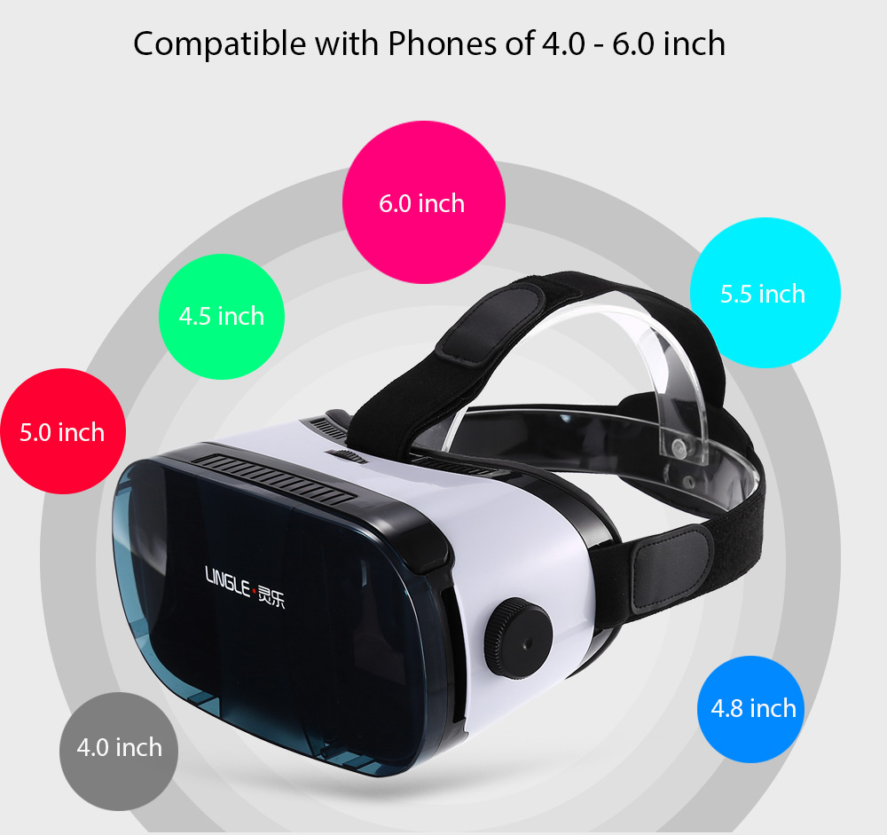 LINGLE L1PLUS Virtual Reality 3D Glasses with IPD Adjustment for 4.0 - 6.0 inch Phones