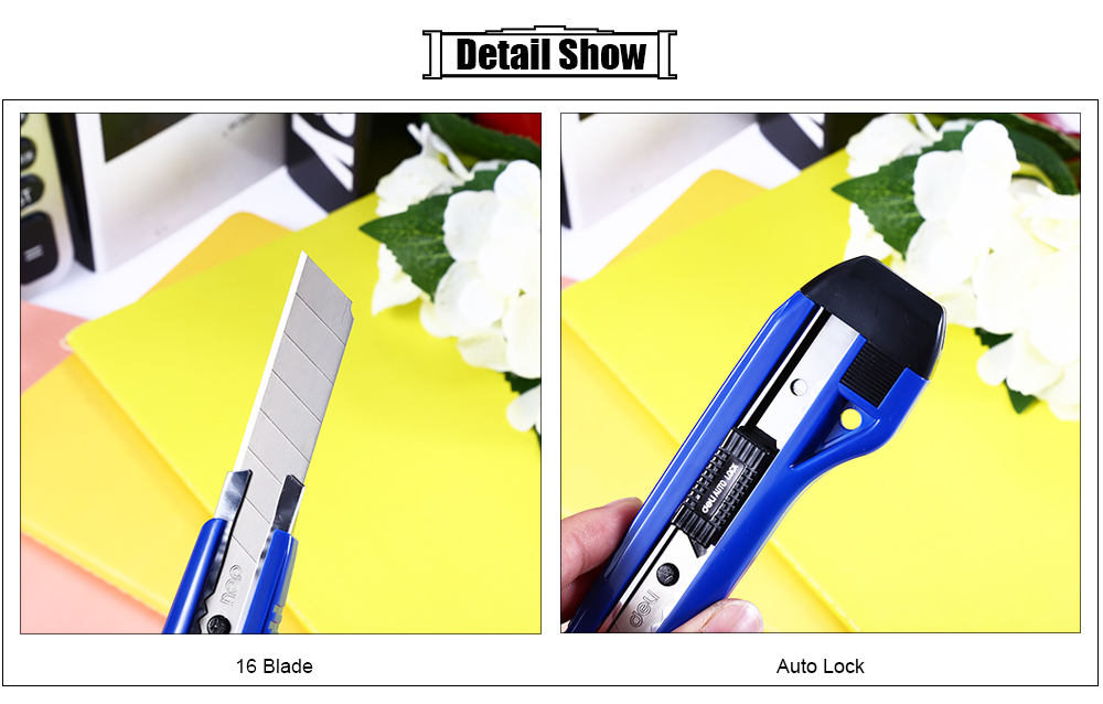 Deli 2041 Art Knife 16 Blade Cutting Tool Office Supplies