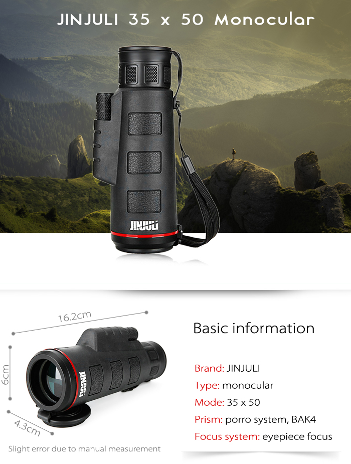 JINJULI 35 x 50 Portable Porro BAK4 Prism HD Monocular Telescope with Mobile Phone Clip