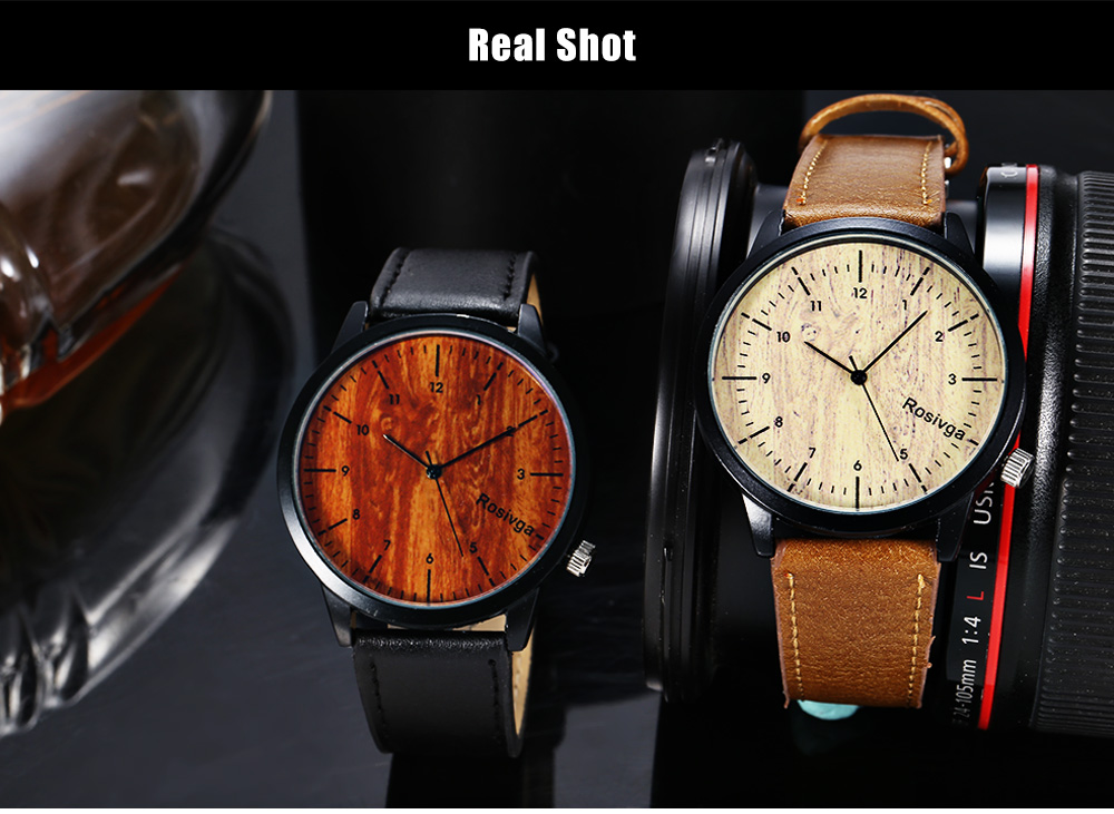 Rosivga 1244 Unisex Quartz Watch with Wood Texture Pattern Dial