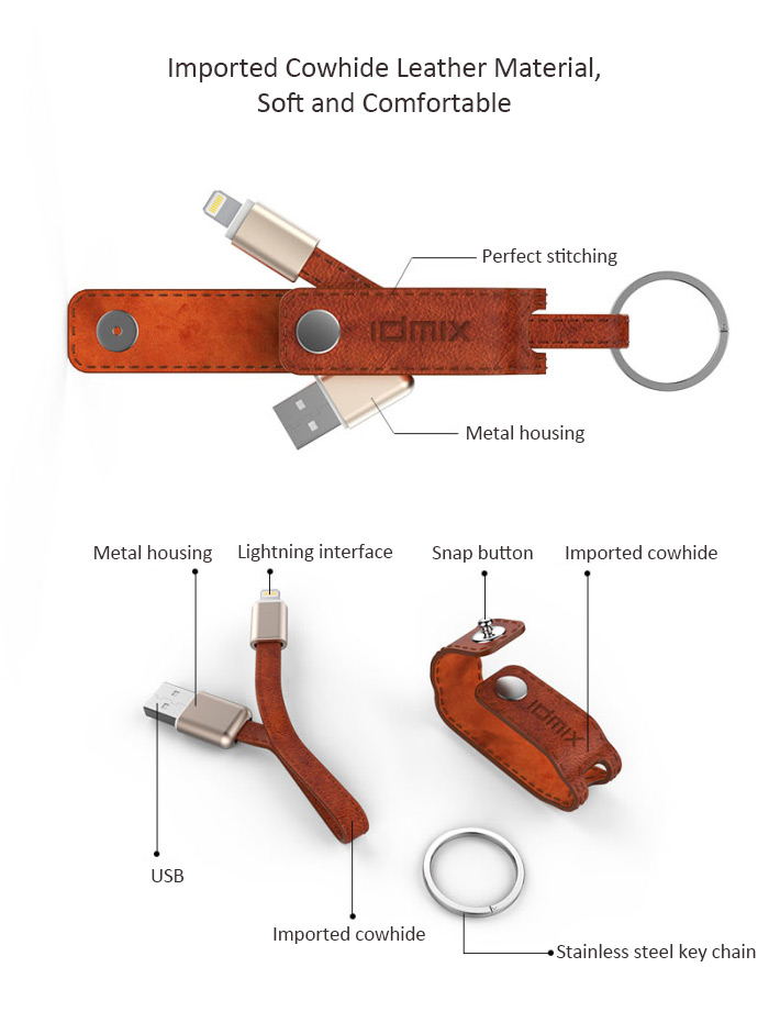 IDMIX DL08 MFI Certification 2-in-1 Key Chain Cowhide 8 Pin Lightning USB Data Sync Charging Cable