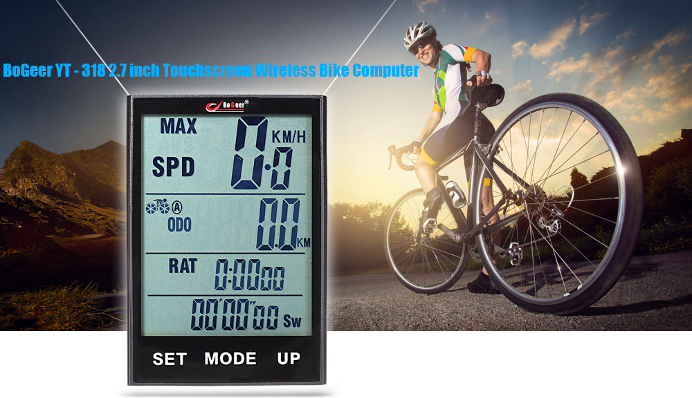 BoGeer YT - 318 Water Resistant Multifunctional Wireless Bike Computer Touchscreen Cycling Odometer